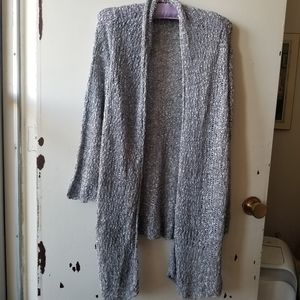 Mottled Blue Cardigan with a Water Fall Neckline